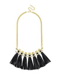 BaubleBar | Black Leather Tassel Collar | Lyst