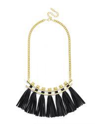 BaubleBar - Black Leather Tassel Collar - Lyst