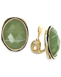 Jones New York | Gold-tone Green Oval Crystal Clip-on Earrings | Lyst