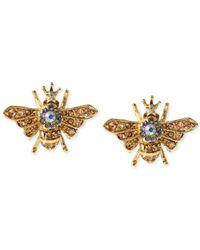 Betsey Johnson - Metallic Gold-Tone Queen Bee Stud Earrings - Lyst