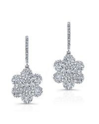 Anne Sisteron - Metallic 18kt White Gold Diamond Flora Flower Earrings - Lyst