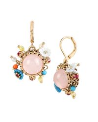 Betsey Johnson | Metallic Weave And Sew Beaded Drop Earrings | Lyst