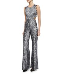 Alexis Metallic Sleeveless Floral Lace Jumpsuit