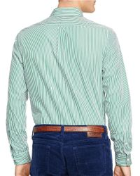 Polo Ralph Lauren | Green Striped Poplin Shirt for Men | Lyst