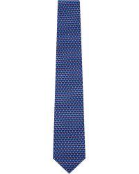 Ferragamo Blue Tugboat-print Silk Tie for men