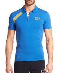 Emporio Armani - Blue Shoulder Stripe Polo for Men - Lyst