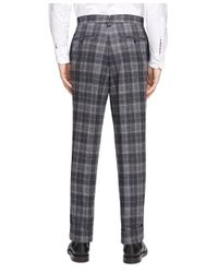 Brooks Brothers Gray Plaid Tab Trousers for men