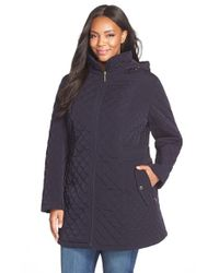 Gallery | Blue Hooded Quilted Jacket | Lyst