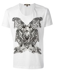Roberto Cavalli White Animal Print T-Shirt for men