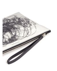 Alexander McQueen | Black Skull Sketch Print Canvas Zip Pouch for Men | Lyst
