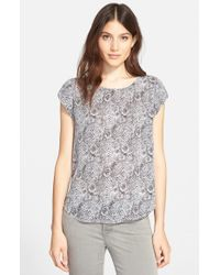 Joie Gray 'Rancher B' Print Silk Top