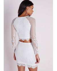 49150aaaa7a0e Missguided Long Sleeve Striped Lace Crop Top White in White - Lyst