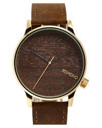 Komono - Brown 'winston' Round Leather Strap Watch for Men - Lyst