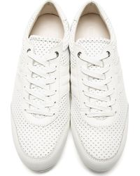 Dolce & Gabbana White Perforated Leather Sneakers for men