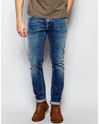 Nudie Jeans Blue Long John Skinny Fit Clean Street Mid Wash - Clean Street for men