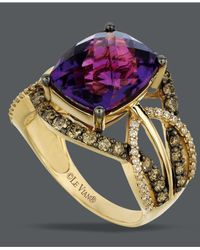 Le Vian | Purple Amethyst (4-5/8 Ct. T.w.) And White And Chocolate Diamond (9/10 Ct. T.w.) Ring In 14k Gold | Lyst