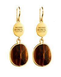 Henri Bendel | Brown Modern Stone Drop Earring | Lyst