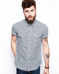 Wrangler White Shirt Short Sleeve Slim Fit Gingham Western for men