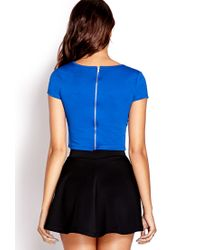Forever 21 | Blue Daring Zippered Crop Top | Lyst