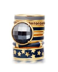 Astley Clarke Blue Colour Star Shower 18ct Gold Vermeil Stacking Ring