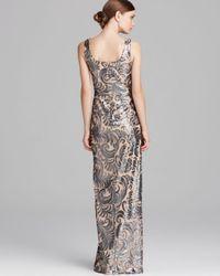 David Meister Multicolor Gown Sleeveless Scoop Neck Sequin