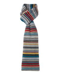 Paul Smith - Gray Multistripe Knit Scarf - Lyst