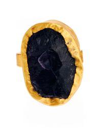 Kasturjewels - Metallic Adjustable Purple Amethyst Semiprecious Stone 22kt Gold Plated Ring On Brass - Lyst