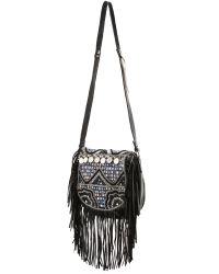 Shashi | Black Simone Saddle Bag - Beige | Lyst