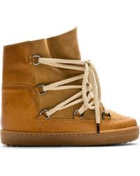 Étoile Isabel Marant Brown Nowles Shearling-lined Lace-up Bootie