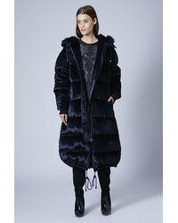TOPSHOP Blue Long Velvet Padded Coat by Unique