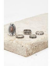 Forever 21 | Metallic Etched Faux Stone Ring Set | Lyst