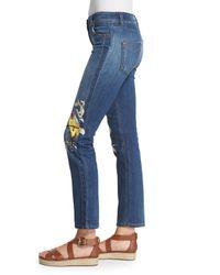 Roberto Cavalli - Blue Bird-embroidered Stretch-denim Jeans - Lyst