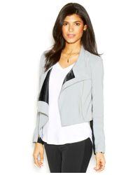 RACHEL Rachel Roy - Gray Long-Sleeve Colorblocked Cropped Jacket - Lyst