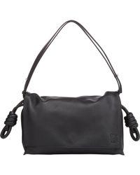 Loewe Black Flamenco Flap Leather Shoulder Bag