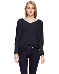 Two By Vince Camuto - Black 'saturday' V-neck Mixed Media Top - Lyst