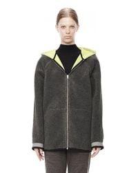 Alexander Wang Gray Bonded Fleece Reversible Hooded Jacket