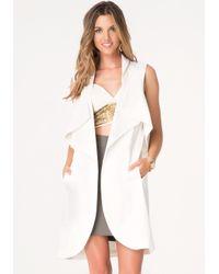 Bebe White Sleeveless Trench Coat