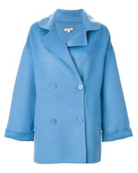 P.A.R.O.S.H. - Blue Oversized Peacoat - Lyst