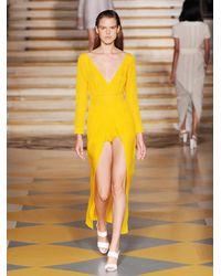 Emilia Wickstead Yellow Emma Slit-Front Jacquard Dress