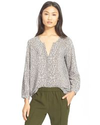 Joie - Gray 'purine' Print Silk Blouse - Lyst