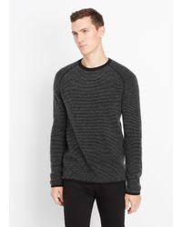 Vince Black Cashmere Thermal Stripe Crew Neck Sweater for men
