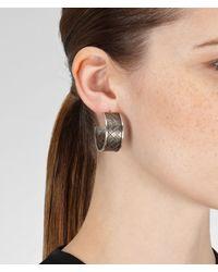Bottega Veneta - Metallic Intrecciato Antique Silver Earring - Lyst