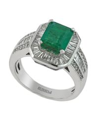 Effy | Green Diamond, Emerald And 14k White Gold Ring, 0.81 Tcw | Lyst