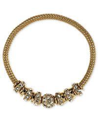 Anne Klein | Metallic Gold-tone Mesh Rondelle Stretch Bracelet | Lyst