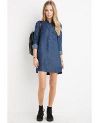 Forever 21   Blue Chambray Shirt Dress   Lyst