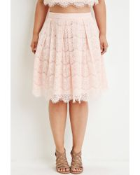 Forever 21 Pink Plus Size Pleated Eyelash Lace Skirt