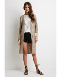 Forever 21 Brown Longline Open-knit Cardigan
