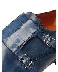 Santoni | Blue Leather & Alligator Monk Strap Shoes for Men | Lyst