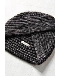 Urban Outfitters - Black Shimmer Ribbed Beanie Turban - Lyst