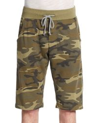Alternative Apparel Green Camouflage-print French Terry Knit Shorts for men